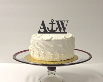 MADE In USA, Personalized Anchor Wedding Cake Topper with Your Initials, Beach Anchor Cake Topper Nautical Cake Topper Anchor Cake Topper