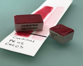 Handmade Watercolor paint Cardinal Med Red Crimson  artist  paint WHOLE and HALF pans -  Non toxic