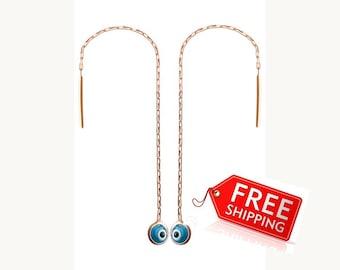 Rose gold evil eye ear threaders, gold plated protection threader earrings, gold plated silver ear threads, rose gold chain earrings