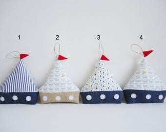 Small boat pillow fabric. Cotton and burlap.