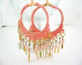 Crystal Dangle Earrings, Hoop Earrings, Crystals, 18k Gold Plated Earrings, Crochet Earrings