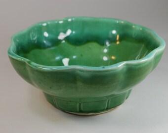 Vintage Mid Century California Pottery Green Drip Glaze Bowl