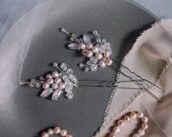 Bridal hair pins -Wedding hair pins - Pearl hair pins - Rose Crystal hair pins - Hair pins bridal- Silver bridal hair pins -Hair pin wedding