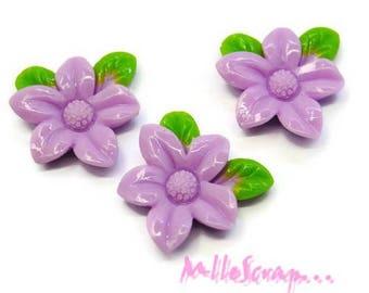Set of 3 purple resin flowers scrapbooking cardmaking decoration *.