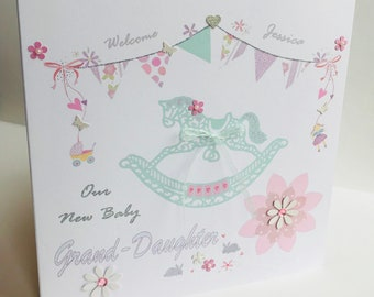 New Baby card.Personalised Grand-Daughter Birth card.Our/Your New Baby Daughter. New Baby Niece.New Baby Girl.