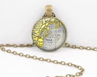 Portland Maine Casco Bay Vintage Map Keepsake Vintage Map Geography Gift  Pendant Necklace or Key Ring