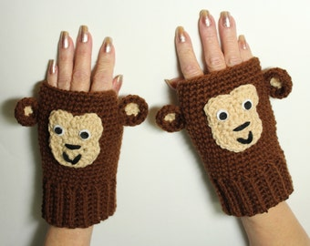 Monkey Fingerless Gloves, Animal Mittens, Crochet Mitts, Brown Hand Warmers, Winter Accessories