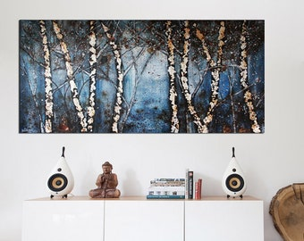 Birch Trees Original Animals Abstract Art Birch Tree Painting, Panoramic Painting, Forest Painting, Blue and Black Landscape Painting,