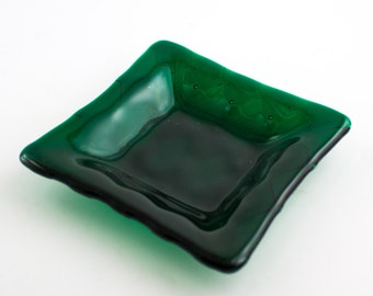 Emerald Green Glass Bowl, Glass Candy Dish, Fused Glass Dish, Jewelry Holder, Trinket Tray, Catch All, Diamond Decor, Unique Gifts for Men