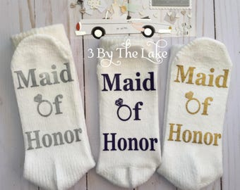 Maid of Honor, Bridal Party Wedding Gift Socks in White for Women