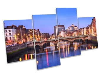 Dublin City Ireland River Picture Multi CANVAS WALL ART Print Framed Picture