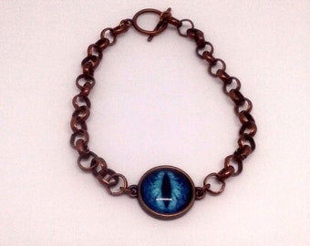 Antique Bronze Rolo Chain Bracelet with Intense Eye Cabochon Centerpiece- Adjustable Length Lobster Clasp, Toggle Clasp