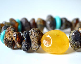 Natural Amber Bracelet .Raw Amber Bracelet. Honey Baltic Amber Bracelet with Turquoise. Natural Summer  Fashion.Yellow Sun Nature Organic