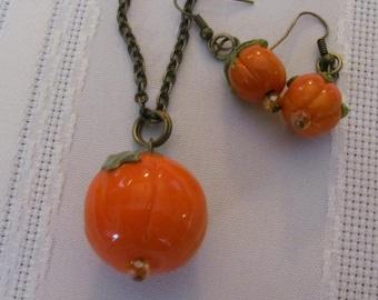 Pumpkin glass bead set