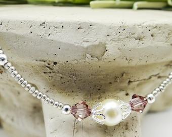 Anklet, Ankle Bracelet, Antique Pink Anklet, Pearl Anklet, Victorian Anklet, Crystal Anklet, Pearl Jewelry, Victorian Jewelry Summer Jewelry