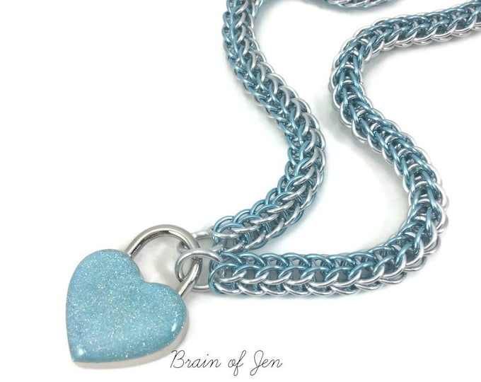 Slave Collar Ice Blue and Silver Chainmaille Submissive Collar with Sparkly Pale Blue Heart Padlock