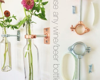 HARDWARE ONLY - 3 Wine Bottle Hanging Flower Vase Kits - Mother's Day Gift - copper or silver - Spring Wall Decor -