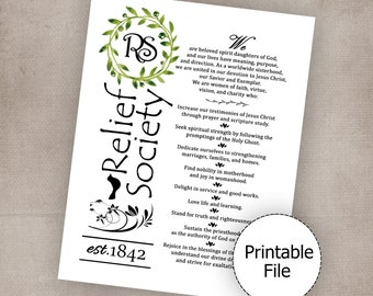 Relief Society Declaration, Relief Society Theme, Relief Society Printable, Relief Society Handout, Visiting Teaching, Relief Society Lesson