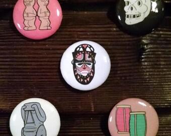"""TRADER VIC'S Tiki Mug 1"""" Button Set of 5 Pins! Pinback Port Light Suffering Bastard Skull"""