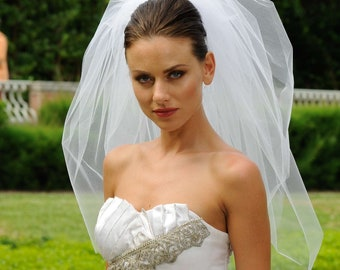 3T Bubble Elbow Bridal Veil  Wedding Veil Cut Edge VE308