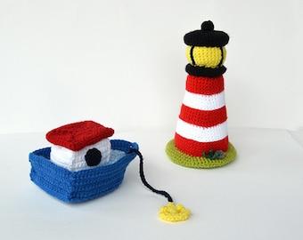 Boat and Lighthouse Crochet Pattern, Boat Amigurumi Pattern, Lighthouse Amigurumi Pattern, Boat Crochet Pattern, Lighthouse Crochet Pattern