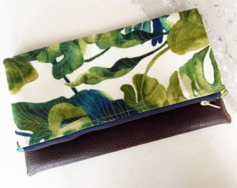 Palm Print & Brown Faux Leather Foldover Clutch - Gift for her, Birthday, Anniversary, Bridesmaid