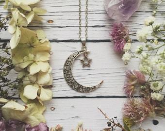 Moon & Star Necklace / Boho Necklace, Witchy Necklace, Boho Moon and Star Necklace, Boho Moon Necklace, Charm Chokers, Boho Jewellery