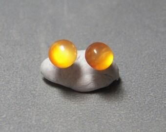 8mm Carnelian Gemstone Post Earrings with Sterling Silver