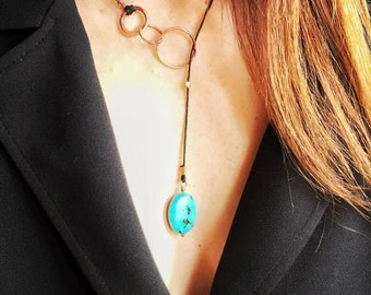 Necklace pendant-grade copper Rings and speckled Turquoise
