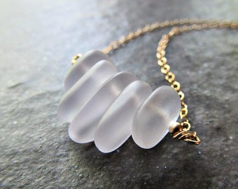 Purple Sea Glass Necklace- Sterling Silver, 14K Gold Filled or Rose Gold Fill- Seaglass Beach Glass Jewelry- Ocean Lovers Gift for Friend