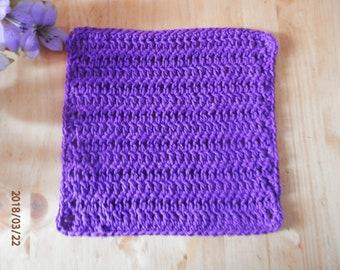 Purple 100% Cotton Dishcloth Dishrag Handmade Crochet