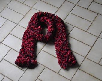ruffled red and fuchsia scarf