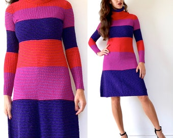 Vintage 60s 70s Color Blocked Striped Micro Ribbed Wool Knit Turtleneck Tube Dress (size xs, small)
