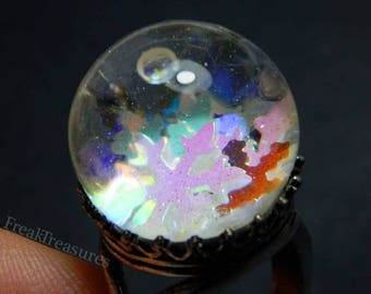 """Magic water globe """"Frosted heart"""" adjustable ring witchy gipsy, moonchild, mermaid"""