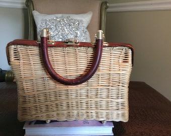Vintage 1950s straw rattan leather trimmed handbag