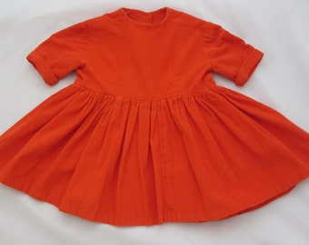 small orange vintage corduroy dress girls short sleeve kids dress orange red classic 1950s 1960s vintage dress handmade dress home made