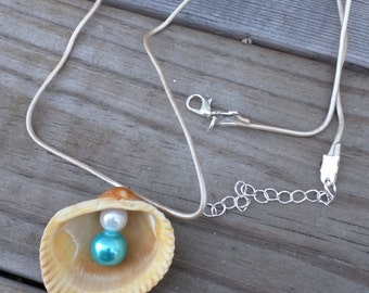 Necklace, pendant,sea shell with white and blue pearl, shell jewelry, beach necklace, beach jewelry, sea shell jewerly, Valentine's day gift