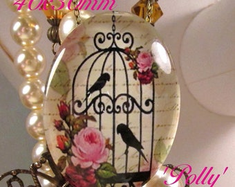 40x30mm - 'Polly' (red-pink roses) - Photo/Decal Glass Cab - 1 pc : sku 05.14.17.6 H15