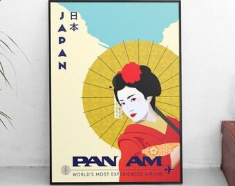 Pan American Airlines Japan Geisha | Travel Poster |  Unframed
