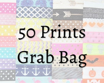 Hair Ties ~ 50 Pack GRAB BAG PRINTS Handmade Trendy Ponytail Holders Knotted Stretchy Elastic Yoga Hair Bands