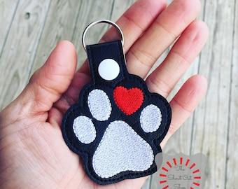 Paw Print Keychain, Paw Print Key Chain, Paw Print Keyfbo, Paw Print Keyring, Paw With Heart, I Heart My Dog, Puppy Love, Rescue Pet, Rescue