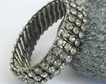 Vintage Rhinestone Bracelet, Expandable, 3 Rows, Empire Made, Signed, 50s, Clear Rhinestones, Crystals, Silver Tone Metal