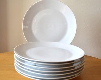 Mid Century White Porcelain Dinner Plates Fairwood Schonwald