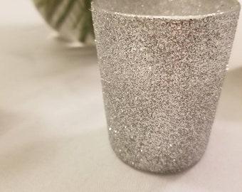 12 Sparkly Silver Glitter Votives