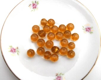 191 set of 10 amber faceted glass beads