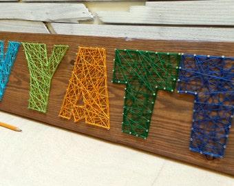 5 Letter String Art Wooden Name Tablet - Made to Order