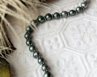 Sale......One of a Kind Handcrafted Sterling Silver Genuine Freshwater Green Pearl Toggle Bracelet