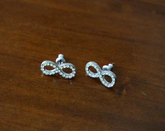 Sterling Silver Mini Infinity Sign Earrings