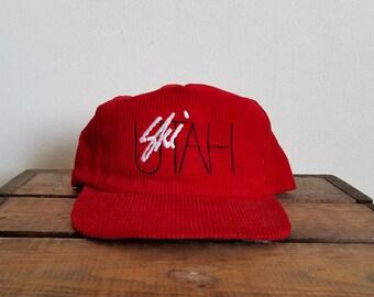 Vintage Ski Utah Corduroy Snapback Hat