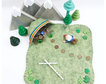 St. Patrick's Play Mat with Rainbow cave Playscape wool pretend play mat felt Fairy Fairies Woodland landscape cave